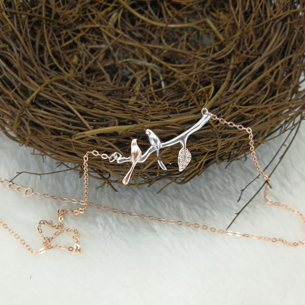 Fashion Women Jewelry Bird On Branches 925 Sterling Silver Pendant
