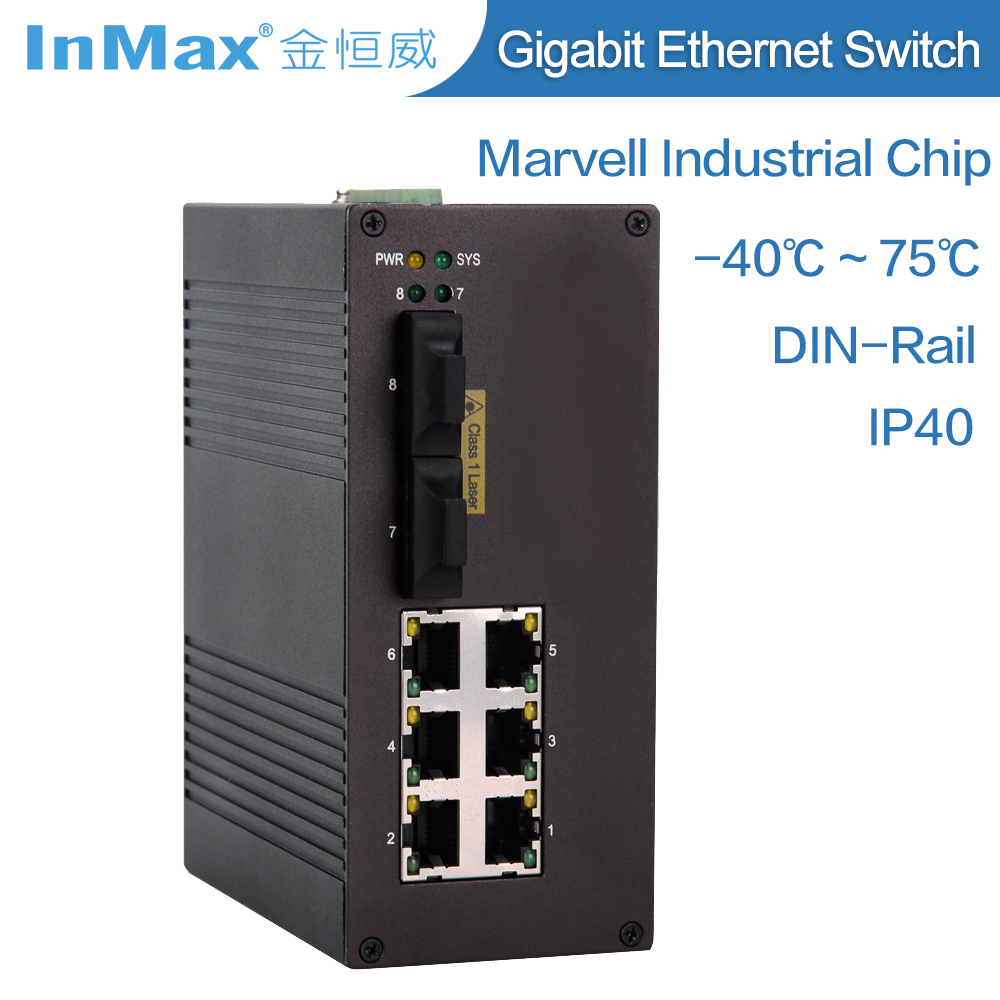 8 port Managed Industrial network Switch i608A