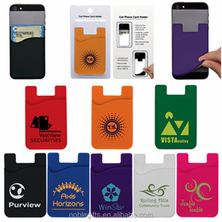 Silicone card holder wallet the cell phone credit card holder and rubber card holder with customized logo 2016
