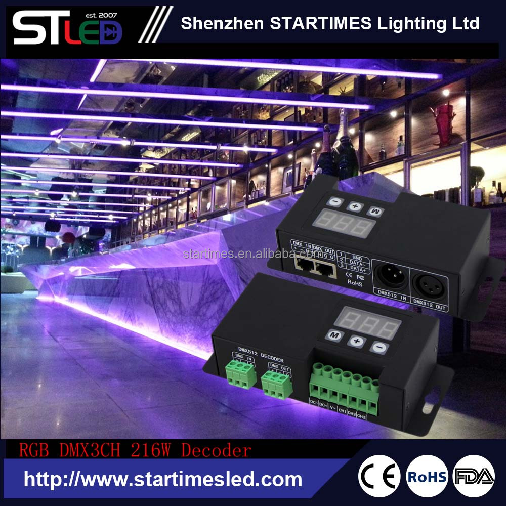full color & Multi-functional dmx led rgb controller ,constant current 3channels dmx master controller