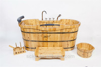 Free standing cedar wood bathtub/Health Wooden Bathtub
