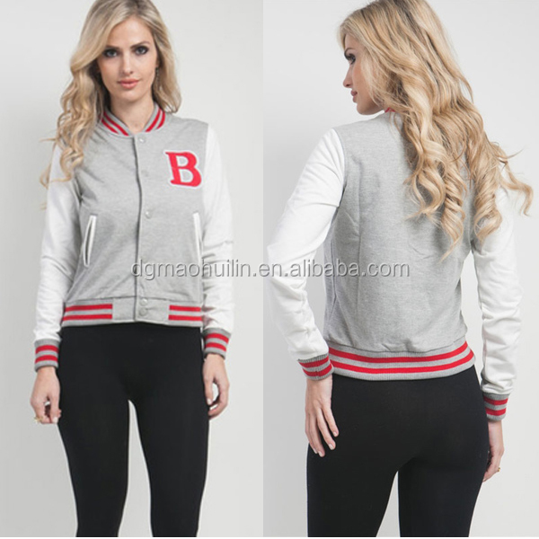 2014 girls grey varsity initial snap button college jacket