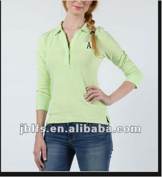 ladies half sleeve 3/4 length sleeve embroider logo custom fit polo t shirt