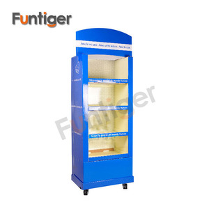 New design floor standing cardboard display with wheels