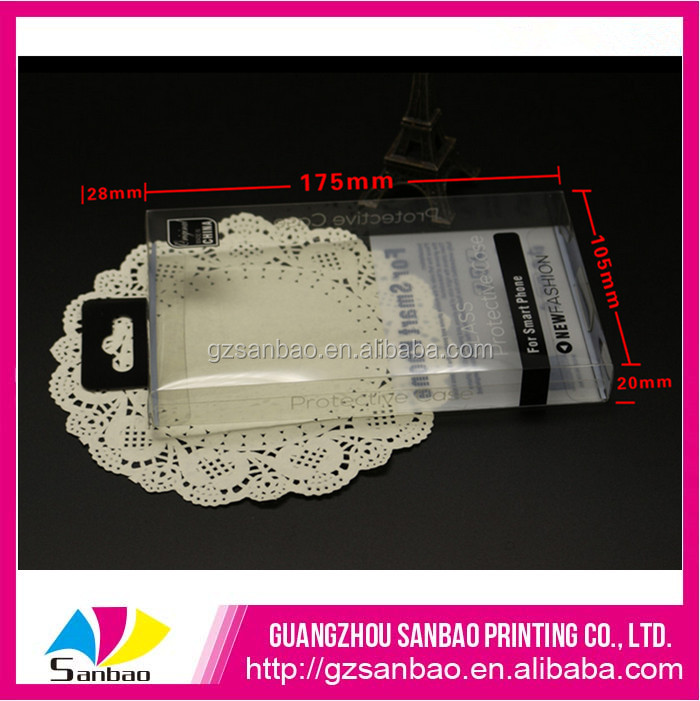 Custom hanging PVC phone case box plastic collapsible box
