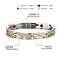 Silver with Golden 316L titanium steel energy bracelet for female and male