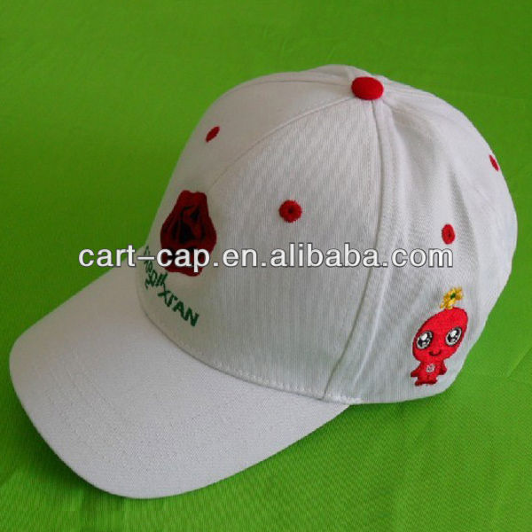 girls white color,100% cotton kids caps hats