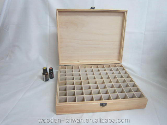 Hight quality essential oil box, mdf, pine, natural lacquered, or unfinished, 80 compartment.