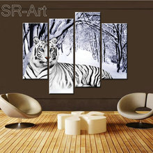 4 Panel Tiger Picture Canvas Printing High Quality Painting Decorative Stretched Canvas Printing