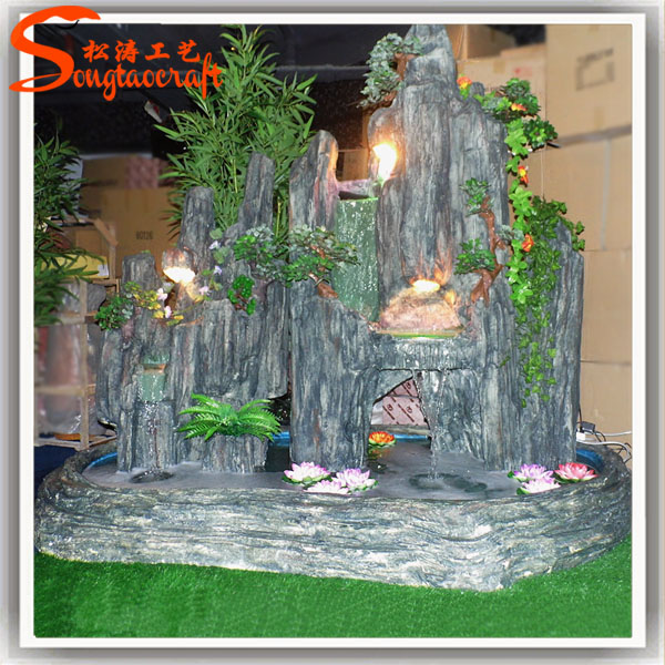 Fiber glass artificial rock waterfall manufacturer of outdoor garden water fountain