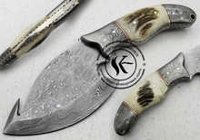 "8.00"" Custom Made Damascus Steel Skinner Hunting Knife (AA-0220-1)"