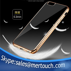 0.3mm Ultra Thin Clear soft TPU Electroplating Crystal case for iPhone 6