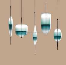 Modern simple flow blue gradient art glass pendant lamp restaurant bar pendant lamp