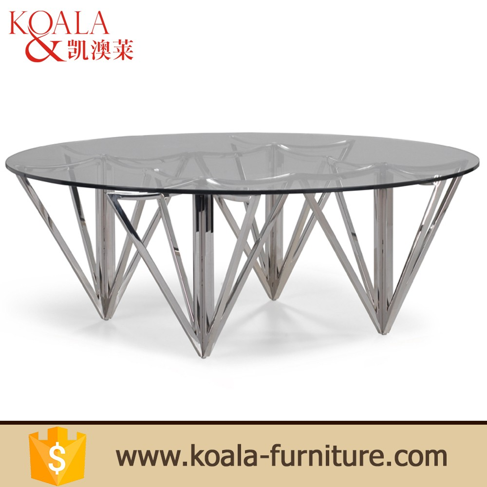 Dining Room Furniture Black Glass Mirror Stainless Steel Coffee Table