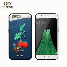 Latest design embroidery cherry mobile phone 3 in 1 case for oppo r11 handmade mobile phone case