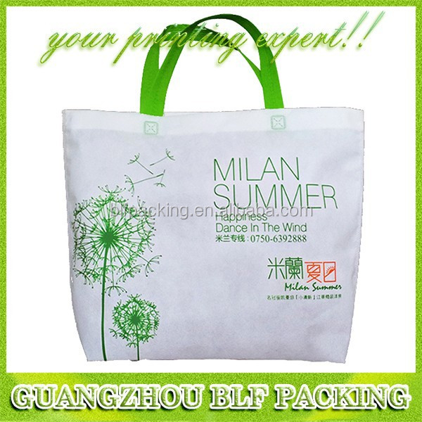 (BLF-NW224) Green white non woven grocery shopping bags