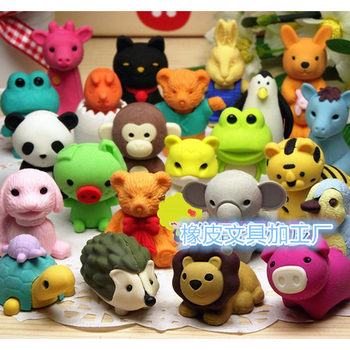 All kinds of creative 3 D animal shaped design eraser rubber good for kid brain development
