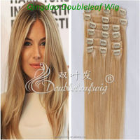 Blonde Women's Malaysian Human Hair Extension Clips In Hair Extensions 8pcs 100g #60 Long Lasting Hair Extension