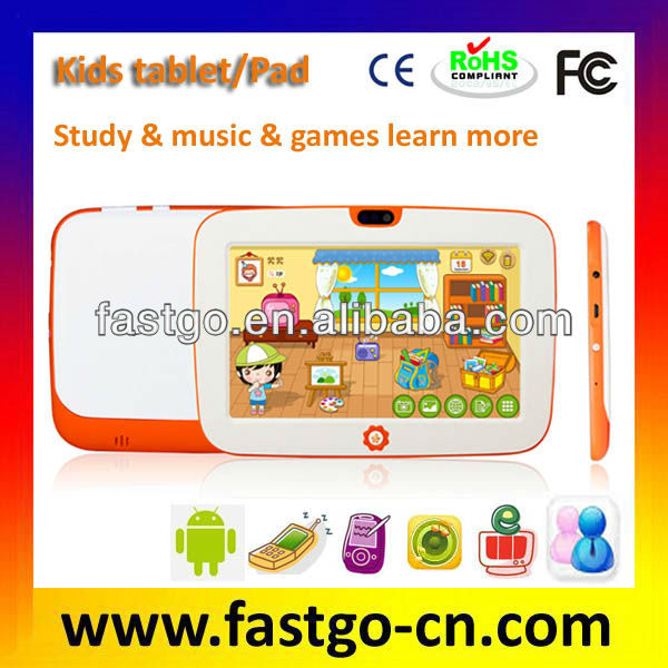 Kid tablet:7 inch RK2928 android & ikids OS silion cover Mulittouch screen Music games phone external 3G study