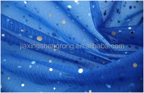 2015 New arrival Blue sequins mesh fabric for Cinderella dress