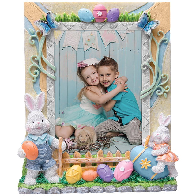 "Easter Bunny Resin Picture Frame For 5"" x 7"" photo"