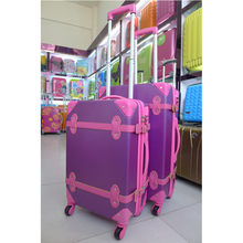 factory in guangzhou china vintage style trolley luggage with built in clothes rack