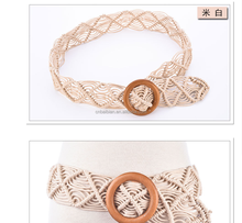 2017 New Designer Belt for Women wide waist braided rope knotted wooden beads metal decorative tassels Waist Wholesale for girl