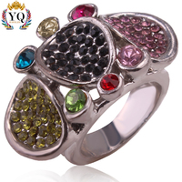 RYQ-00182 silver fancy multi color rhinestone fashion rings unique three round shape finger ring