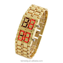 New products lava style iron samurai red light metal led watch