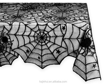 Spider Web Lace Tablecloth Gothic Halloween Spooky black