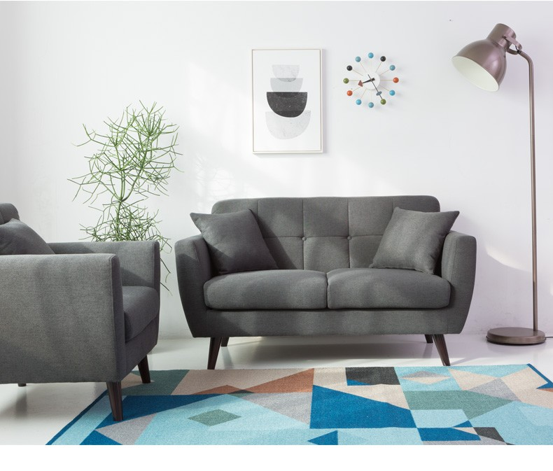 chestrfield two seats sofa lounge living room furniture modern comfortable dark grey fabric polyester chester couch 3-2-1