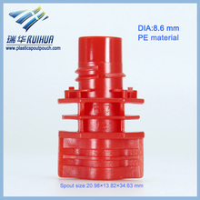Red PE 8.6mm plastic drinking spout for pouch