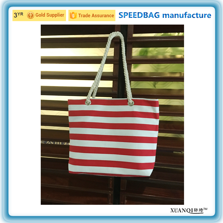 custom fashion red stripe lady canvas beach tote bag