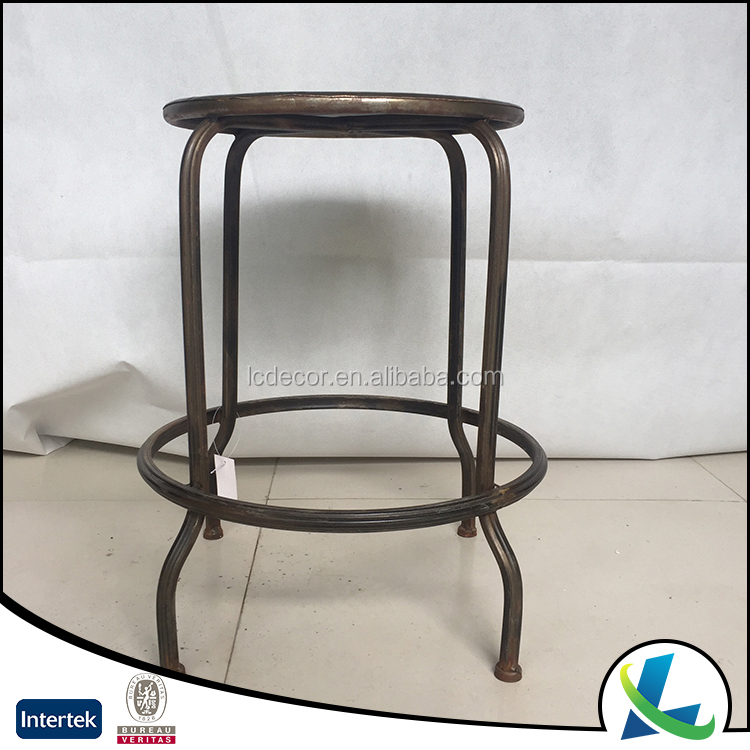 Shabby Antique Round Industrial Metal Iron Bar Stool