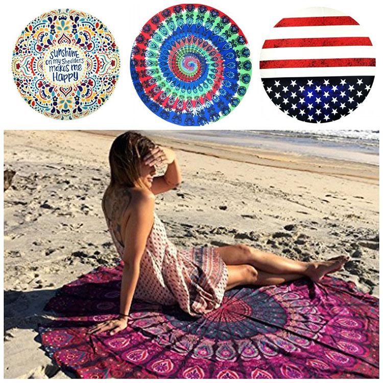 National Flag Round Boho Style Mandala Circle Beach Towel