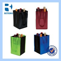foldable recycle customized high quality non woven win bag for 4 bottle