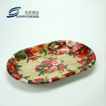 beautiful flower decal printing restaurant fancy festivel christmas plastic serving tray