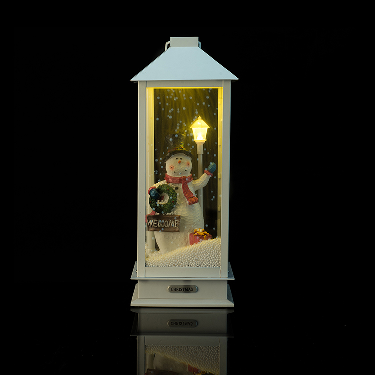 Wholesale Decorative Gift Hanging Snow scene Led Snowman Christmas Lantern Manufacturers