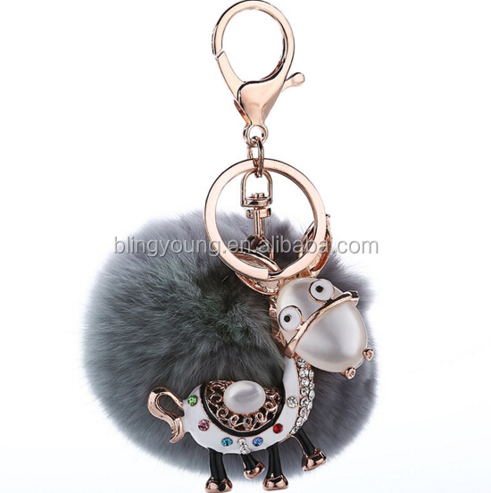 Wholesale big Rabbit Fur Ball Keychain with mule