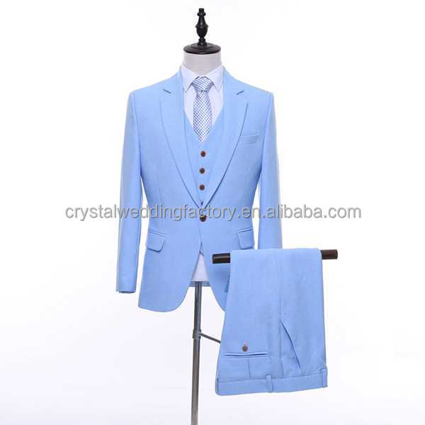 100% Real Custom Made Men Suits Latest coat pant men Pant Designs Sky Blue Men Wedding Suits ( Jackets + Vest + Pants ) LS14
