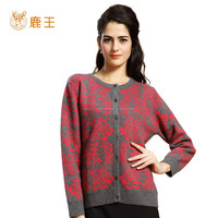 CF Button Closure cashmere sweater, Red Flower Printed Cardigan