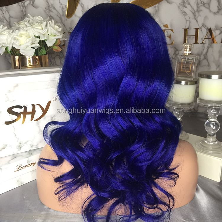 Short Blue Wig Brazilian Hair Wig Lace Wig Vendors Full Lace Human Hair Wigs With Baby Hair For Black Women