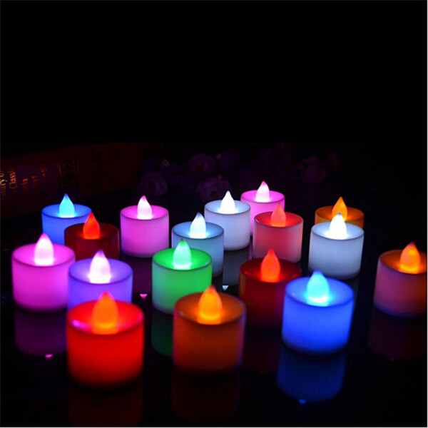 7 Color LED Submersible Tea Light Electronic Candles Underwater Waterproof Lamp Holiday Birthday Wedding Decor
