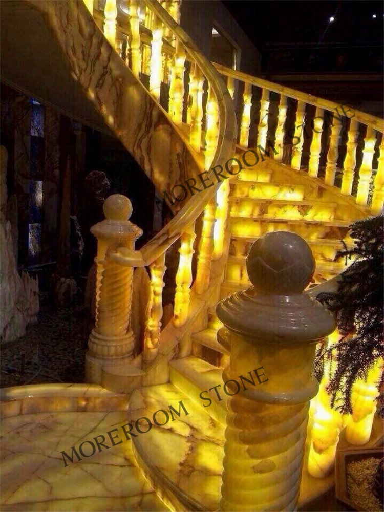 Luxury Design Onyx Marble Staircase Design