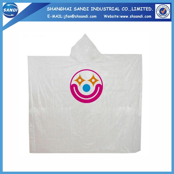 Promotional custom disposable poncho with logo