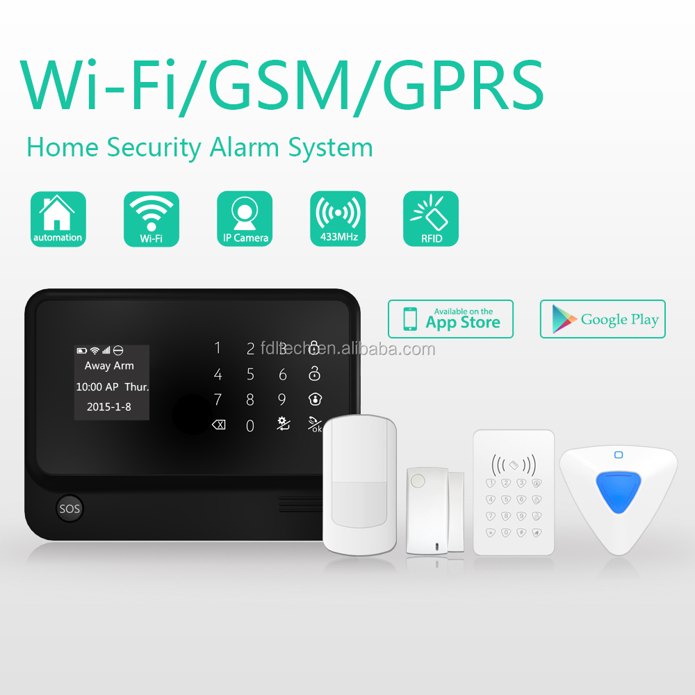 sistema de alarma wifi g90b Newest GSM alarm system support IP cameras and RFID keypad