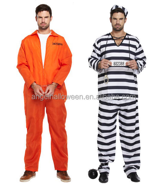 Halloween cosplay china convict prisoner mens adult jail costume AGM3036