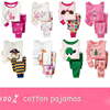 2016 new arrival cheap 100% cotton children sleepwear printinf pattern kids pajamas for girls