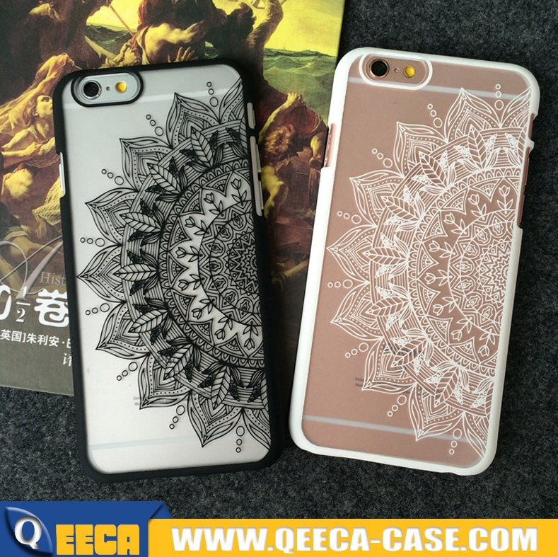 Rubberized frosted datura & mandala design printing hard PC phone case for iphone 5 6 6s plus