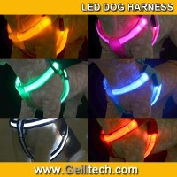 Wholesale Nylon Safety Pet Dog Belt Harness Glow LED Flash Flashing Light Up Leash Tether led dog harness